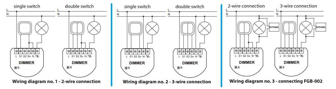 Fibaro Dimmer 2 Z Wave Plus on 3 wire switch diagram